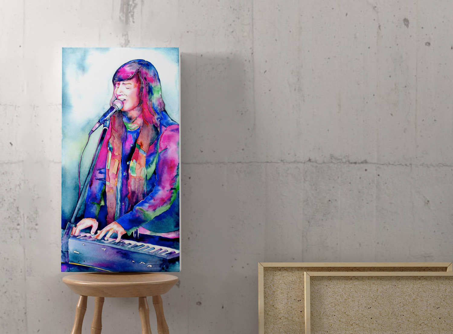 colorful watercolor painting of a singer